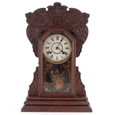 American Clock Co. Oak Gingerbread Mantel Clock