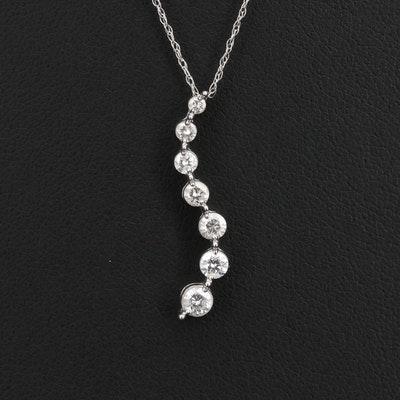 14K Diamond Journey Pendant on 10K Chain Necklace