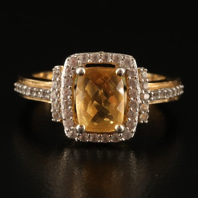 Sterling Citrine and Sapphire Ring