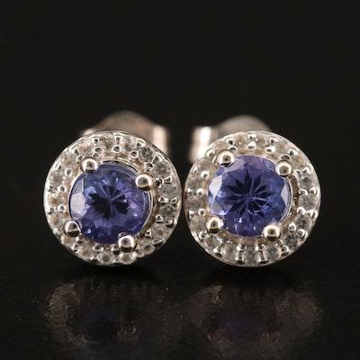10K Tanzanite and Topaz Stud Earrings