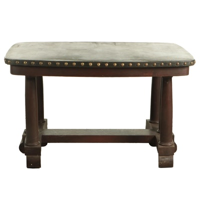 Empire Revival Oak and Leather Top Trestle Table with Nail Tack Detailing