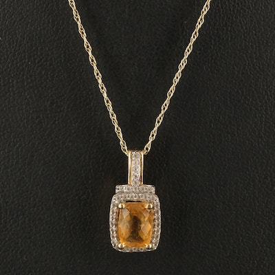 Sterling Citrine and Sapphire Pendant Necklace