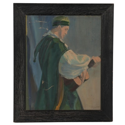 Oil Painting of Lute Player, Mid-20th Century