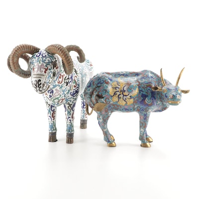 Chinese Brass Cloisonné Ox and Ram Figurines