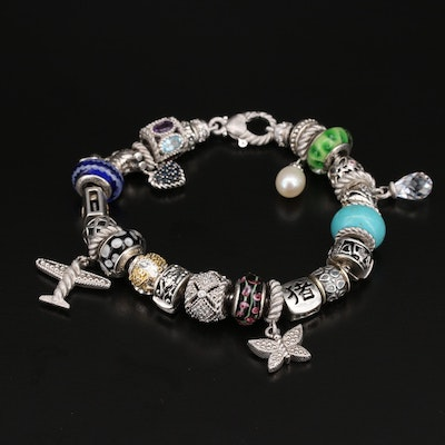 Judith Ripka Sterling Glass, Pearl and Gemstone Charm and Bead Bracelet