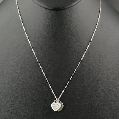 """Tiffany & Co. """"Return to Tiffany"""" Sterling Double Heart Pendant Necklace"""
