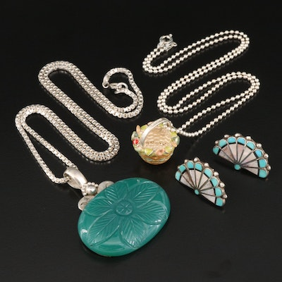 Sterling Necklaces and Earrings Featuring Chalcedony and Mother of Pearl