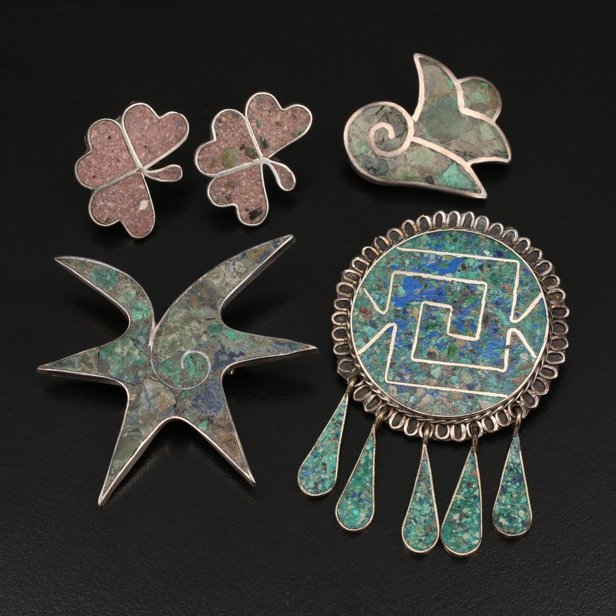 Mexican Taxco Sterling Stone Inlay Jewelry Featuring Carlos Converter Brooch