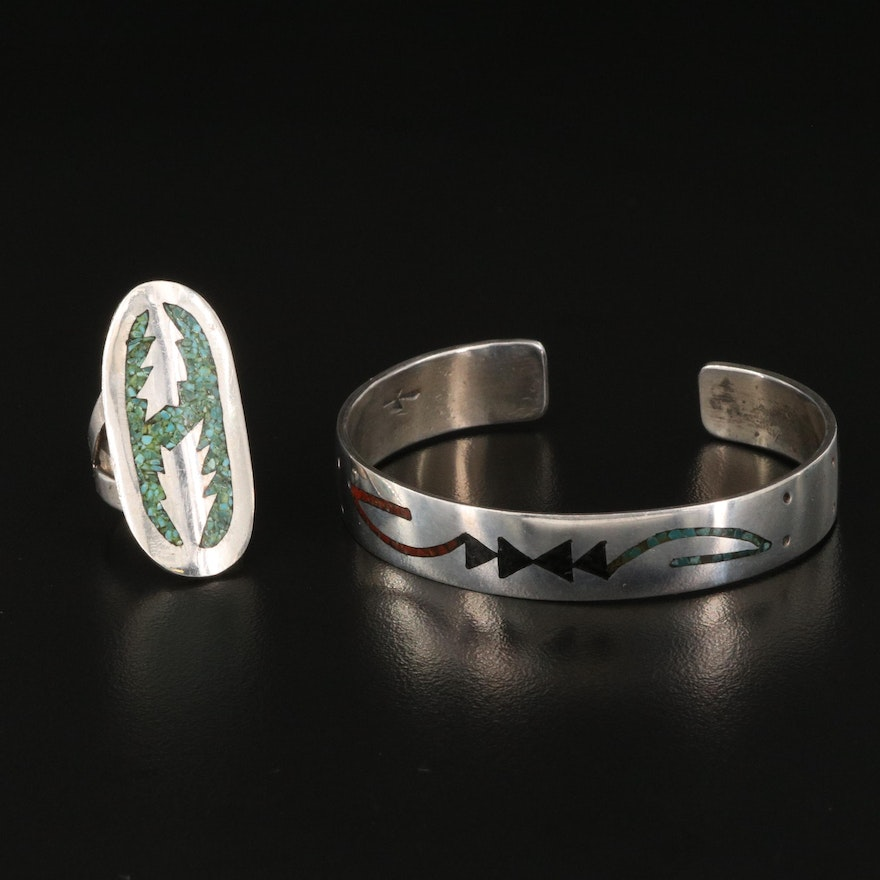 Southwestern Style Sterling Silver Ring and Cuff with Gemstone Inlay