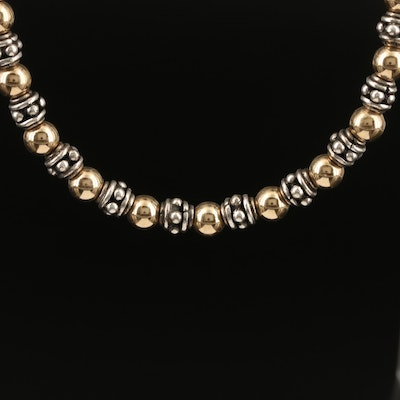 Sterling and 14K Beaded Necklace