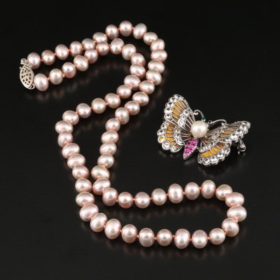 Pearl Necklace with Ruby, Pearl and Quartz Butterfly Brooch