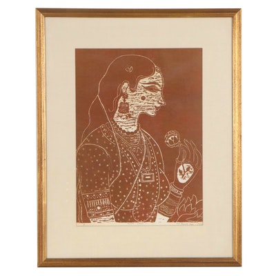 "S. V. Rama Rao Woodcut Monoprint ""Indian Lady,"" 1970"