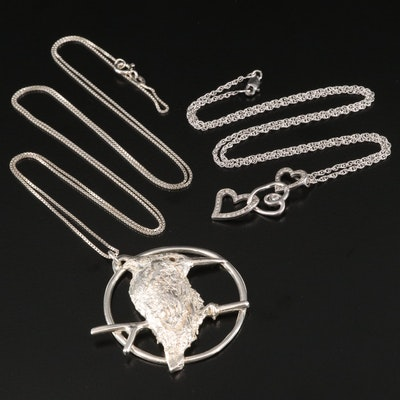 Sterling Kookaburra Bird and Diamond Triple Heart Pendant Necklaces