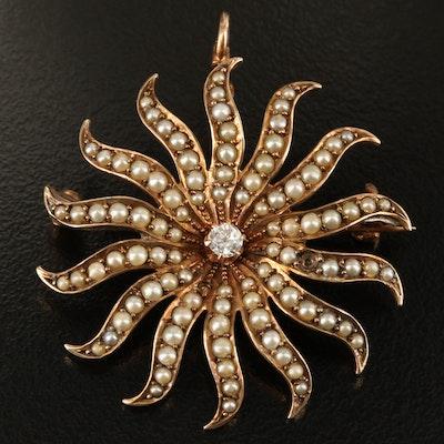 Victorian 10K Diamond and Pearl Sunburst Converter Pin