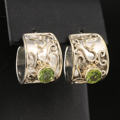 Sterling Peridot Earrings with Scroll Pattern and Wire Work