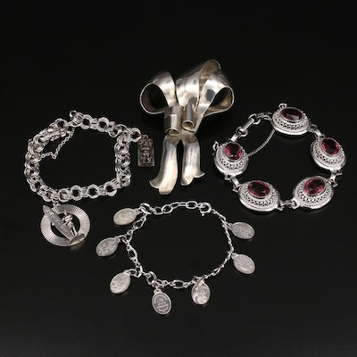 Sterling Bracelet and Brooches Including Hawaiian Themed Charm Bracelet