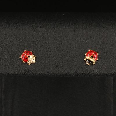 14K Ladybug Enamel Stud Earrings
