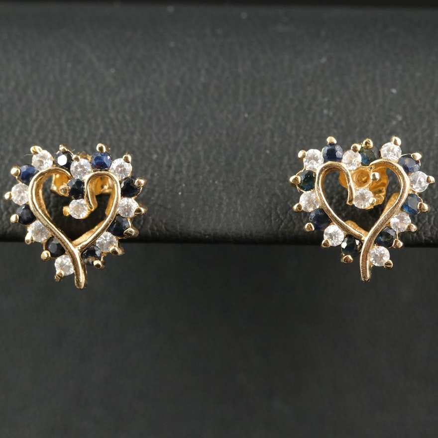 Sterling Sapphire and Cubic Zirconia Heart Earrings