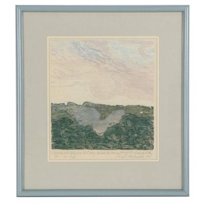 Amy C. Mehalick Landscape Woodcut, 1987