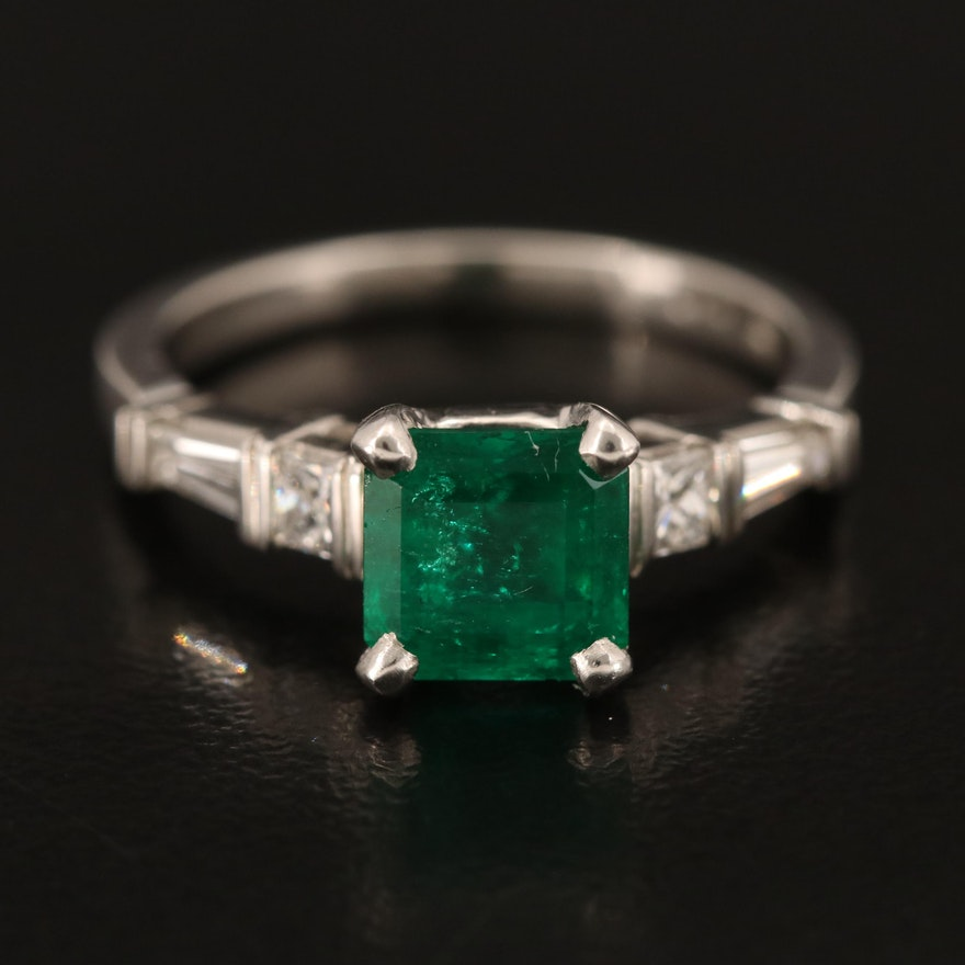 Platinum 1.39 CT Emerald and Diamond Ring