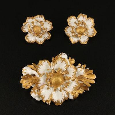 English Royal Crown Derby Enamel Flower Brooch and Earring Set