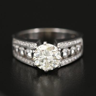 14K Diamond Ring with 2.02 CT Center