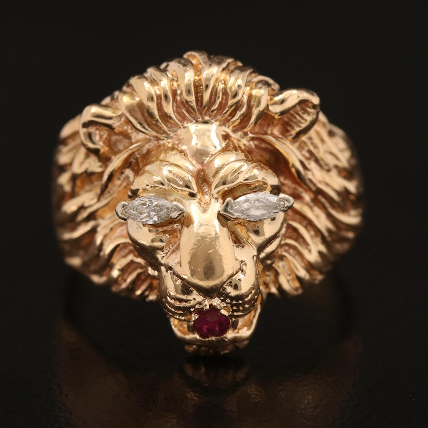 Vintage 14K Diamond and Ruby Lion Head Ring