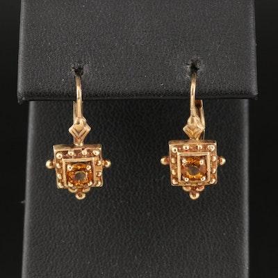 14K Citrine Dangle Earrings