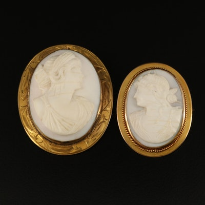 Victorian 10K Cameo Brooches with Diana Goddess of the Hunt