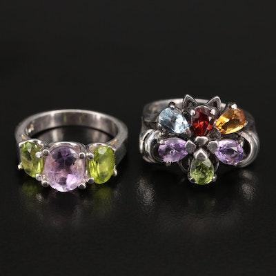 Sterling Amethyst, Peridot and Gemstone Rings