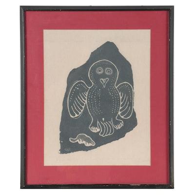 "Annie Mikpiga Inuit Stonecut ""Owl and Lemming,"" 1968"