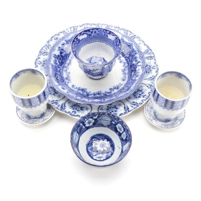 English Flow Blue Porcelain Dinnerware and Table Accessories