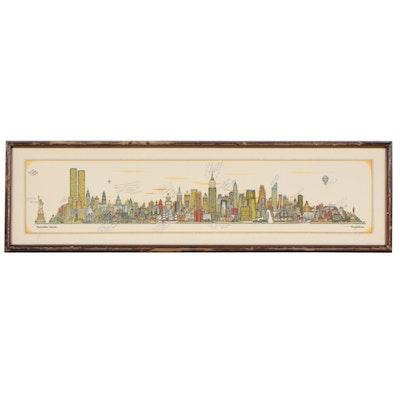 """Offset Lithograph After Tony Graham """"Manhattan Skyline,"""" 1980"""