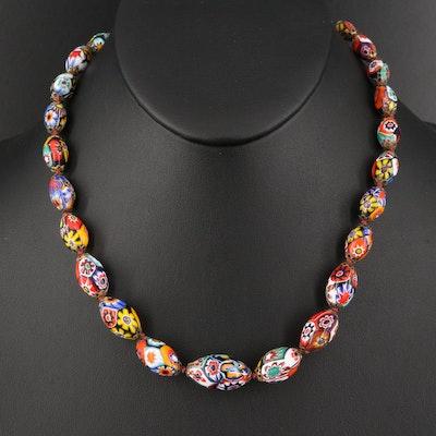 Venetian 14K Millefiori Graduated Bead Necklace
