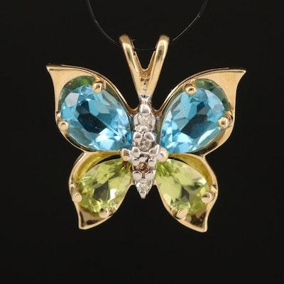14K Topaz, Peridot and Diamond Butterfly Pendant