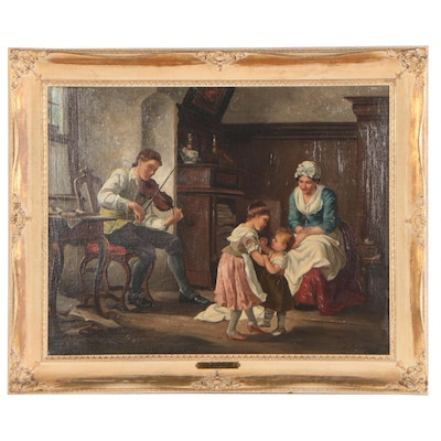 """Oil Painting """"The Music Lesson,"""" Late 19th to Early 20th Century"""
