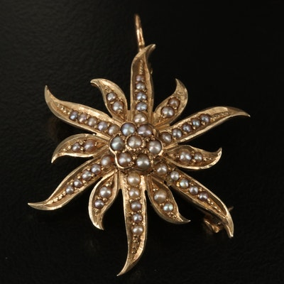 Antique A. Kent & Sons 10K Pearl Starburst Converter Brooch