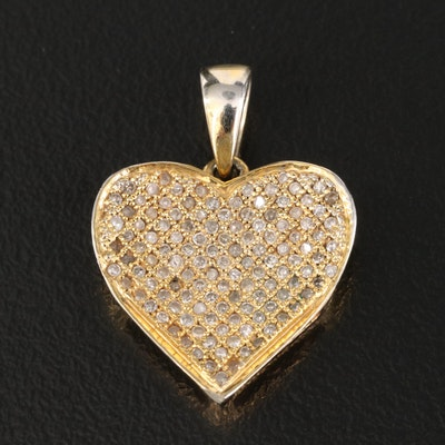 10K Pave Diamond Heart Pendant