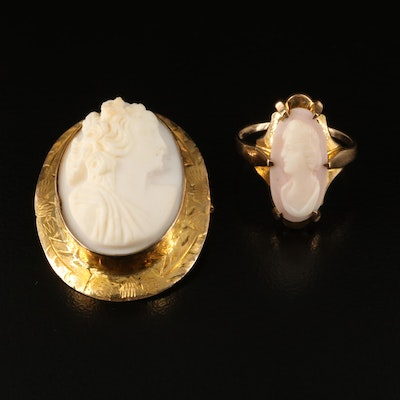 Victorian 10K Shell Cameo Brooch and Ring