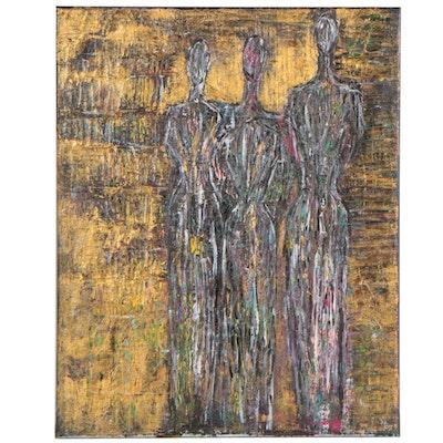 Magdalena Halikotic Abstract Figural Acrylic Painting, 21st Century