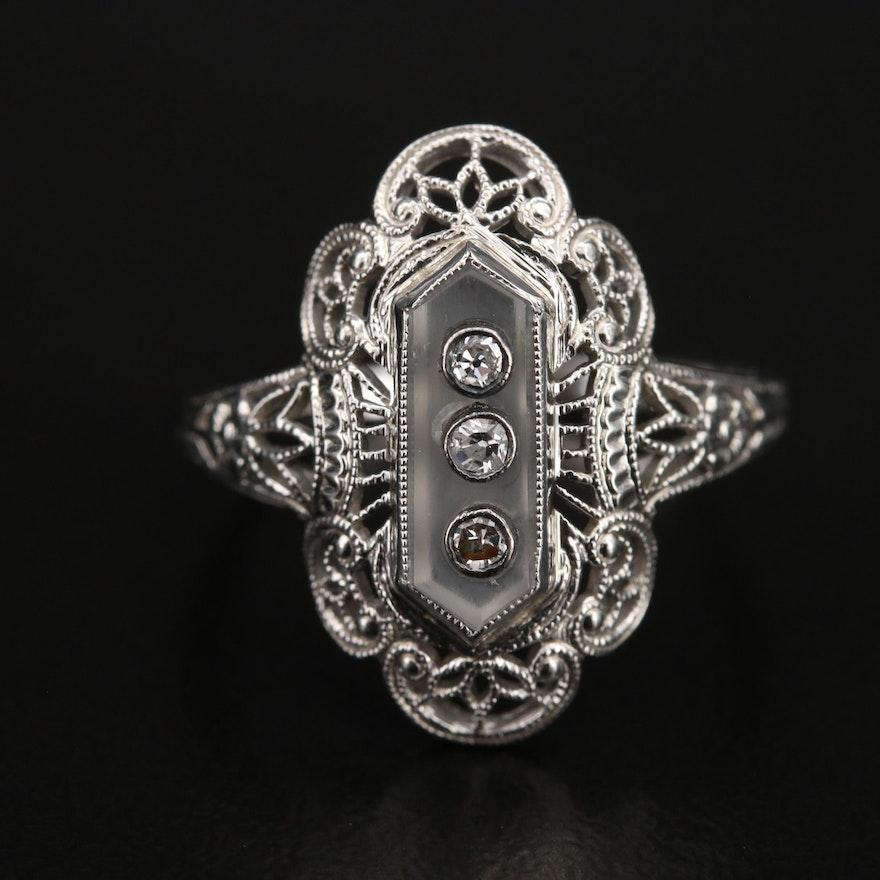 1930s 18K Diamond and Quartz Filigree Ring