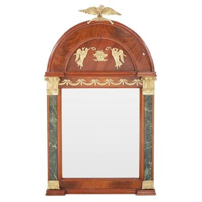 Italian Neoclassical Mahogany Arch Top Wall Mirror, Late 20th Century