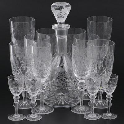 "Rogaska ""Gallia"" Iced Tea & Cordial with ""Jasmine"" Decanter & Champagne Glasses"