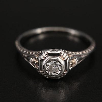 Art Deco 18K 0.11 CT Diamond Ring