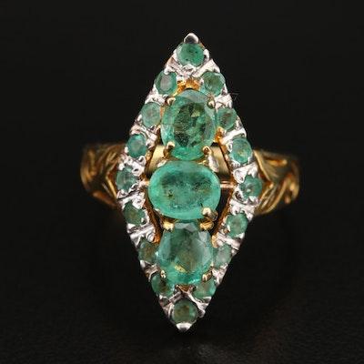 Sterling Emerald Navette Ring