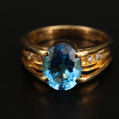 18K Swiss Blue Topaz and Diamond Ring