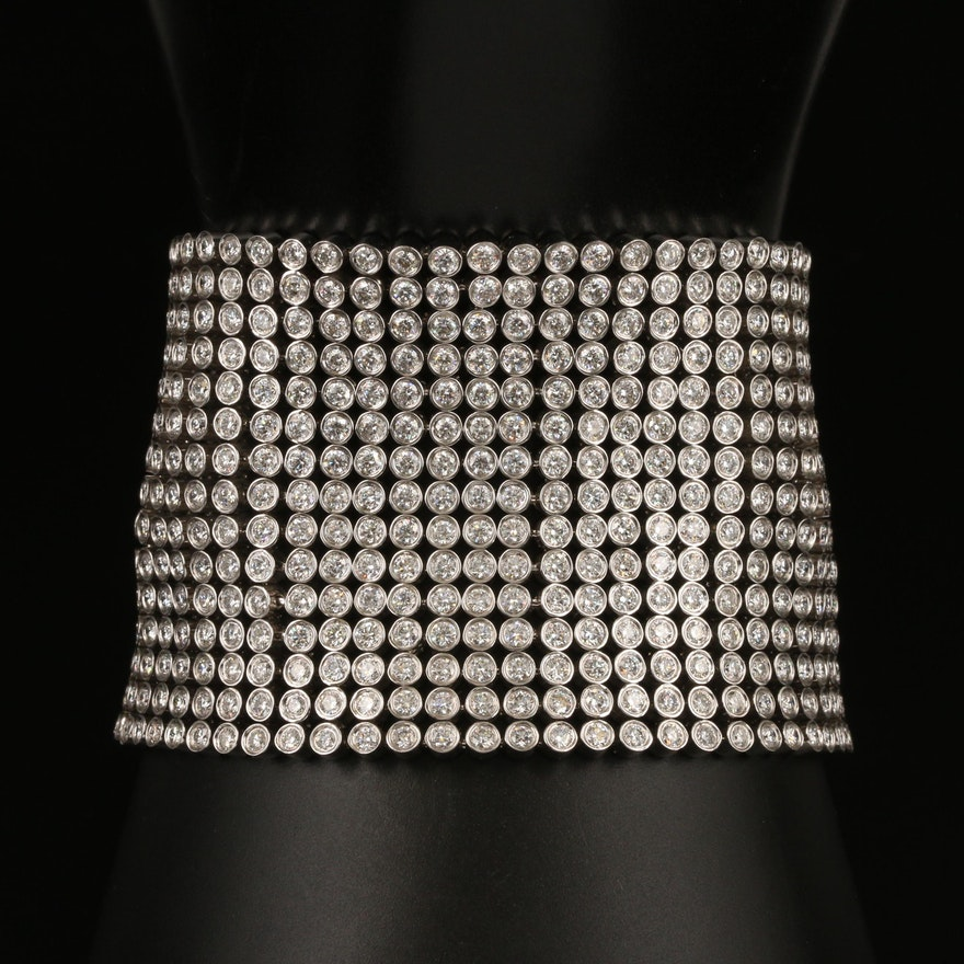 18K 36.83 CTW Diamond Wide Mesh Bracelet