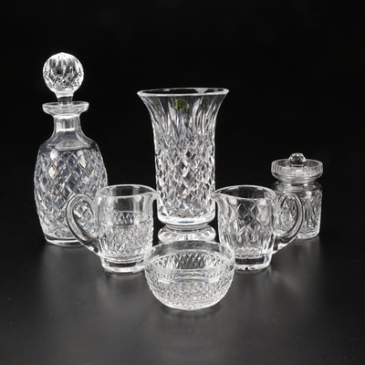 """Waterford """"Glandore"""" Crystal Decanter, Vase, Biscuit Jar, and Other Accessories"""