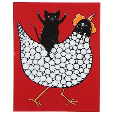 "Ryan Conners Giclée ""Black Cat, Funky Chicken,"" 21st Century"