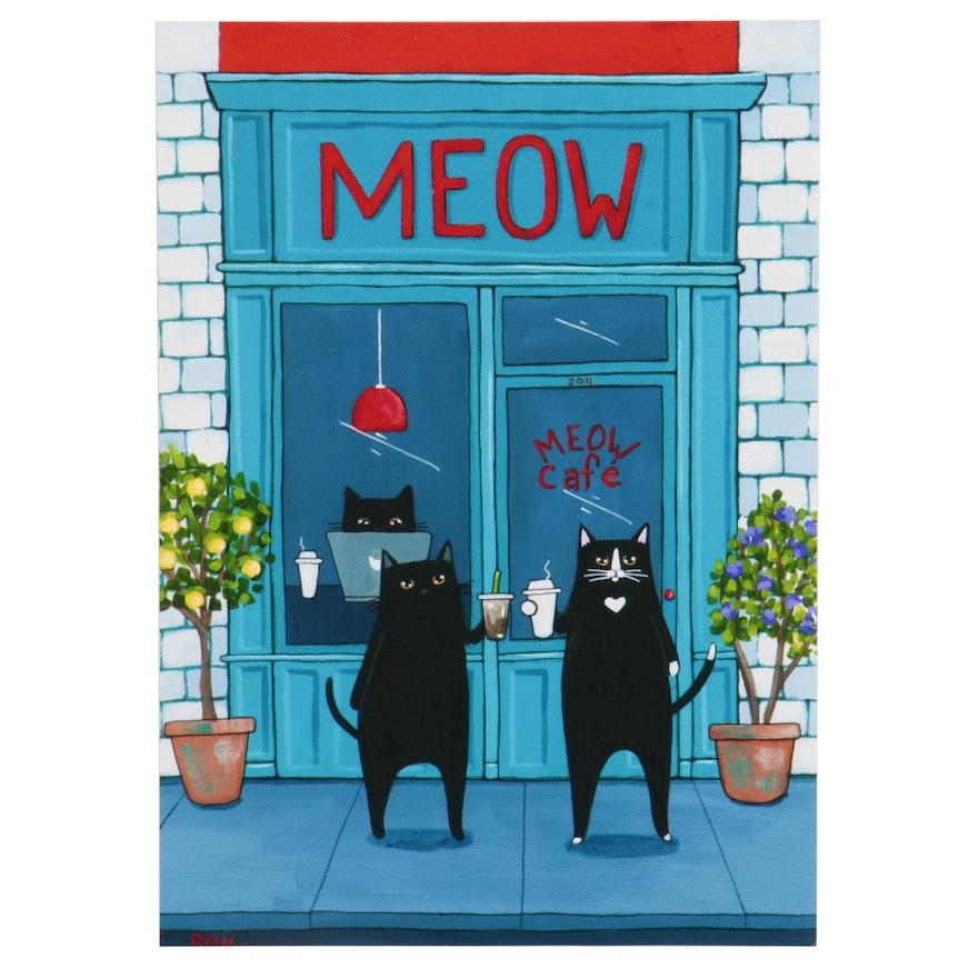 "Ryan Conners Giclée ""Meow Cafe,"" 21st Century"